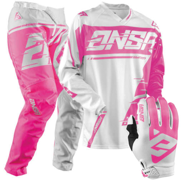 ANSWER 2018 Motocross Gear Combo - SYNCRON  Womens/Kids  - Grey/Pink - SMALL -  Junior Kit